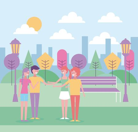 A people hand shake in the park urban background vector illustration