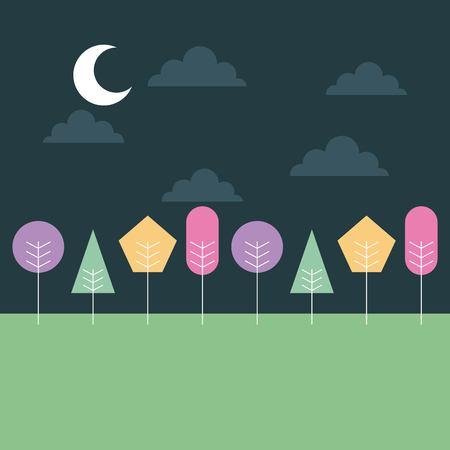 色付きの木々ベクトルイラストとかわいい風景夜の月の雲