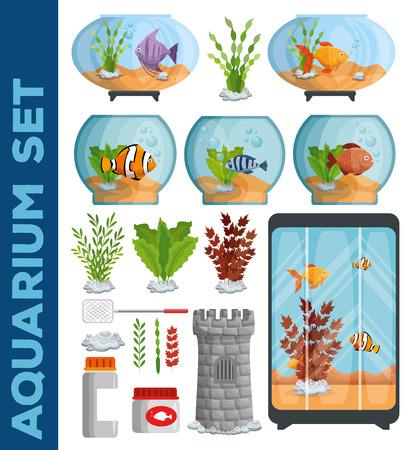 mooi aquariums iconen vector illustratie ontwerp instellen