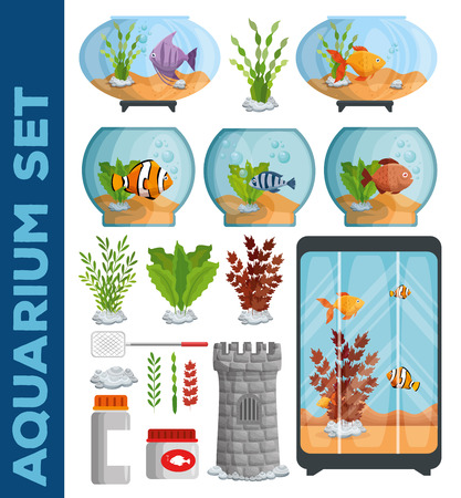 set beautiful aquariums icons vector illustration design 版權商用圖片 - 97070086