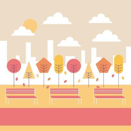 秋の風景公園のベンチツリー落ちる葉都市の背景ベクトル図  イラスト・ベクター素材