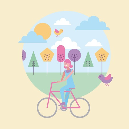 happy woman riding in bike with spring landscape and birds vector illustration Иллюстрация