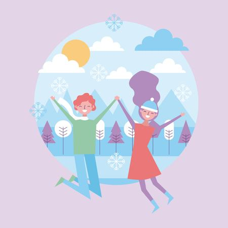 A couple together happy jumping in winter season landscape vector illustration Illustration