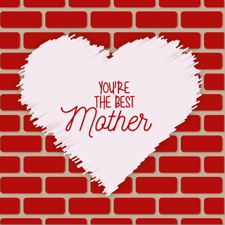 heart painting on wall brick best mom - mothers day vector illustration