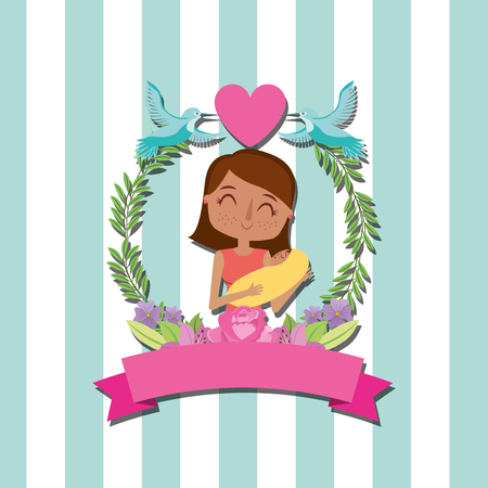 A mom holding baby with flowers wreath birds - mothers day vector illustration
