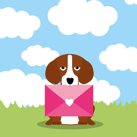 cute dog with envelope mail in mouth - vector illustration