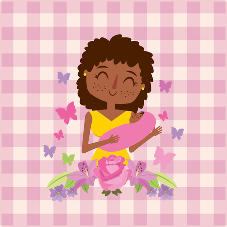 mom holding baby in her arms flowers butterflies and checkered background - mothers day vector illustration