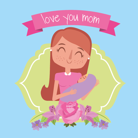 cute happy mom holding her baby label flowers - mothers day vector illustration