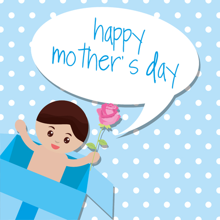 Cute baby outside of box surprise with flower - mothers day vector illustration.