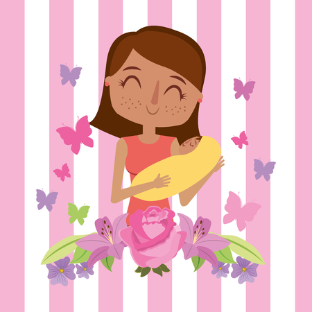 A mom holding baby with flowers birds butterflies  mothers day vector illustration