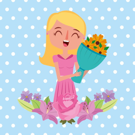 beauty happy mom holding bouquet flowers - mothers day vector illustration