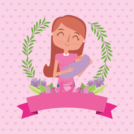 cute happy mom holding her baby flowers banner decoration - mothers day vector illustration