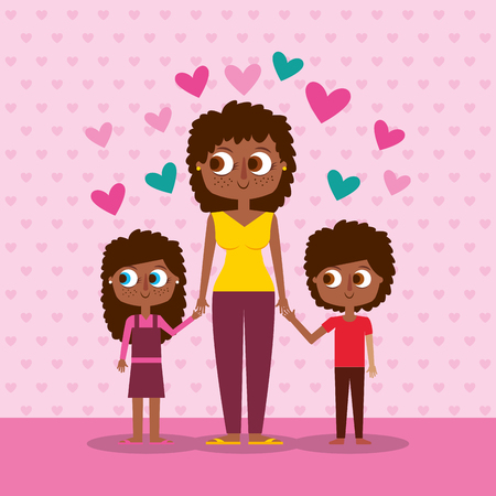 happy mom and her kids holding hands - mothers day vector illustration Illustration