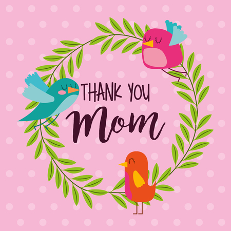 wreath birds floral and dots background - mothers day vector illustration