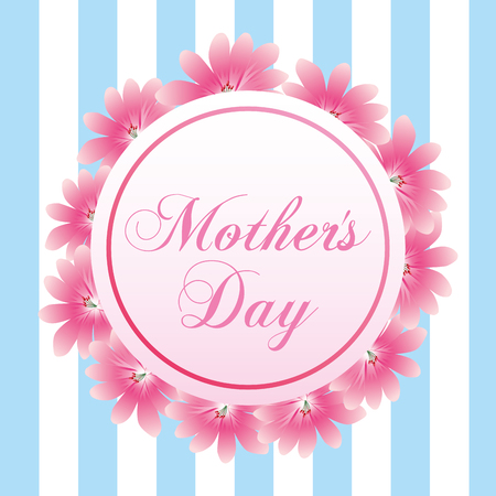 A cute label flowers border decoration on mothers day vector illustration