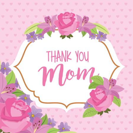 retro delicate label flowers lertering - mothers day vector illustration