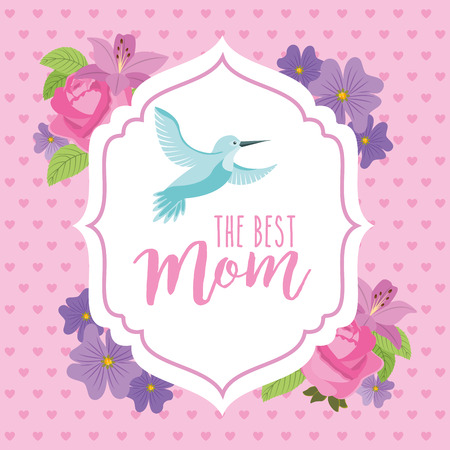best mom decorative badge flowers and bird - mothers day vector illustration
