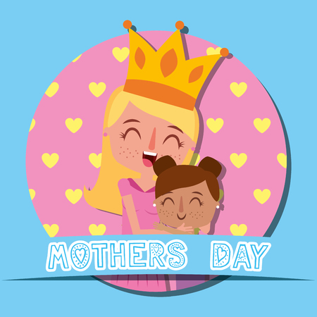 cute mom with crown and happy daughter - mothers day vector illustration Stockfoto - 97001128