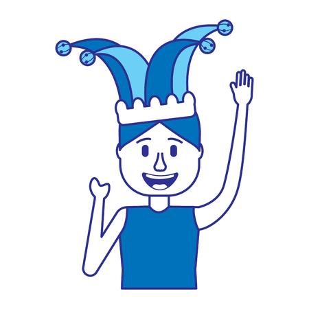 happy man jester hat and crazy glasses portrait vector illustration blue image Иллюстрация