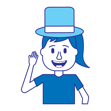 funny smile woman with silly glasses and hat vector illustration blue image