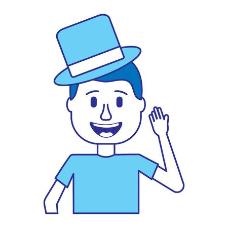 happy man hat and crazy glasses portrait vector illustration blue image Иллюстрация