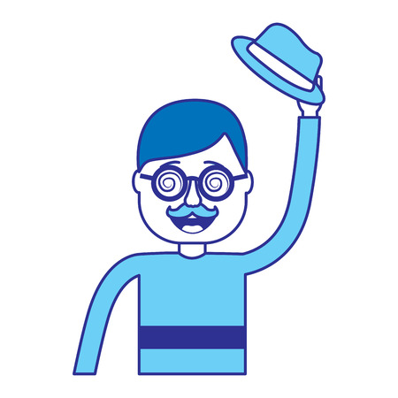 happy man hat and crazy glasses portrait vector illustration blue image Иллюстрация