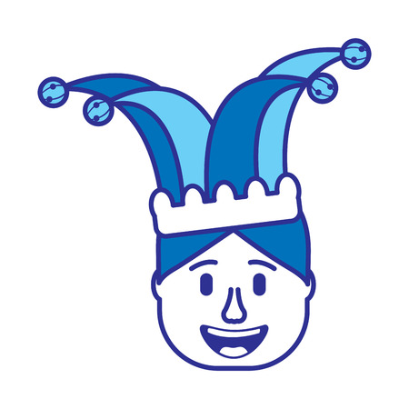 smiling face man with glasses and jester hat vector illustration gradient color image blue image