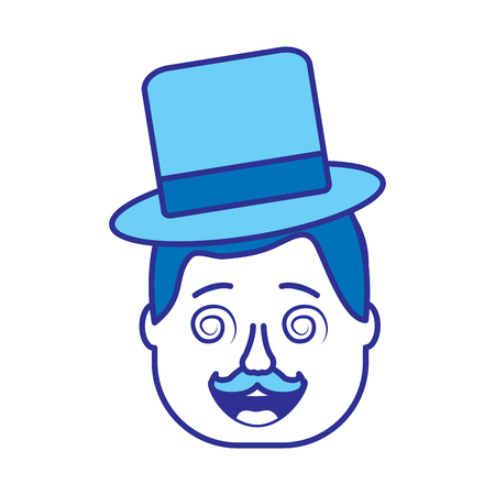 smiling face man with glasses jester hat and mustache vector illustration gradient color image blue image Illustration