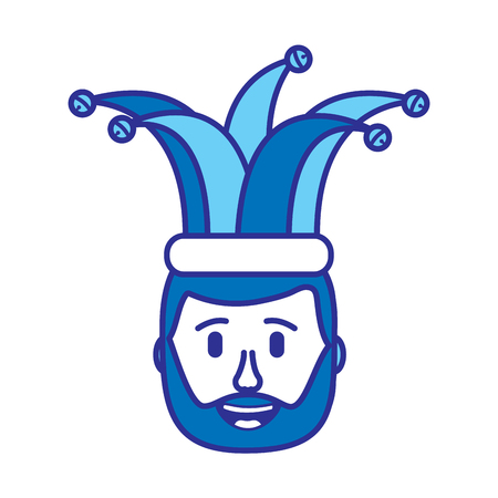 smiling face beard man with hat happy vector illustration gradient color image blue image