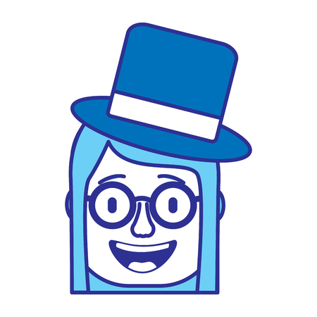 laughing face woman with crazy glasses and hat enjoy vector illustration gradient color image blue image Illustration