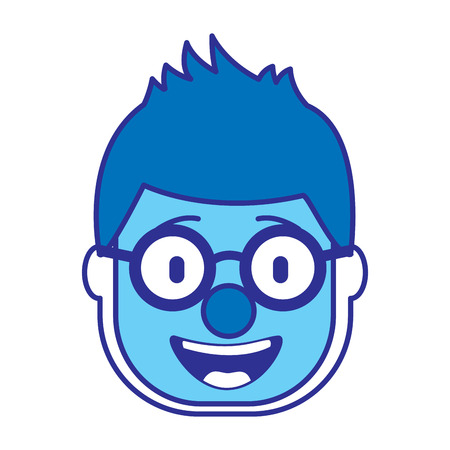 smiling face man with glasses and mask clown vector illustration gradient color image blue image