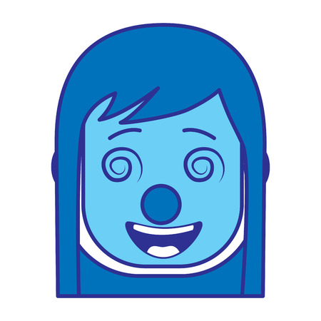 laughing face woman with crazy glasses mask clown enjoy vector illustration gradient color image blue image
