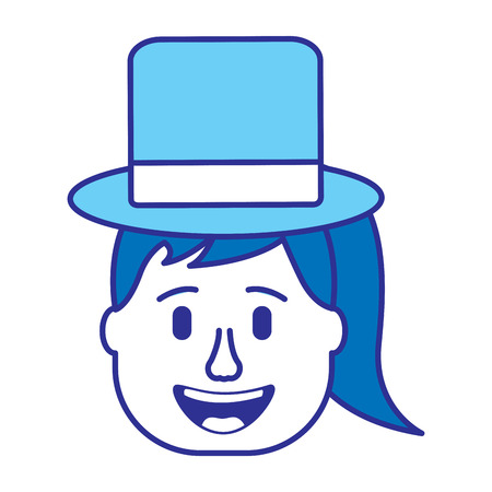 laughing face woman with hat enjoy vector illustration gradient color image blue image Illustration