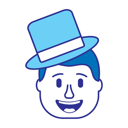 smiling face man with hat happy vector illustration gradient color image blue image