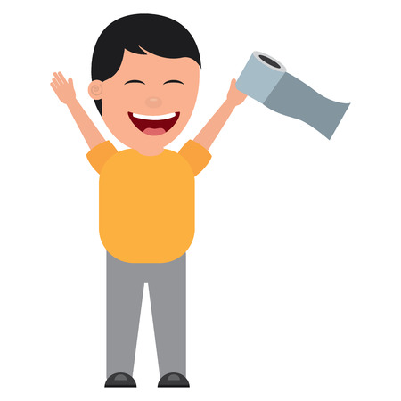 man smiling with toilet paper in his hand for a joke vector illustration Çizim