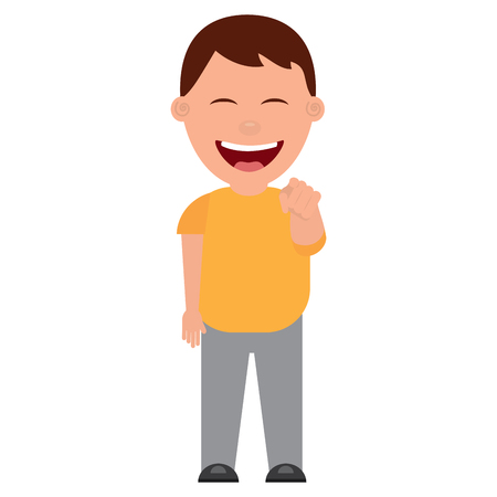 smiling boy bullying someone and pointing finger vector illustration
