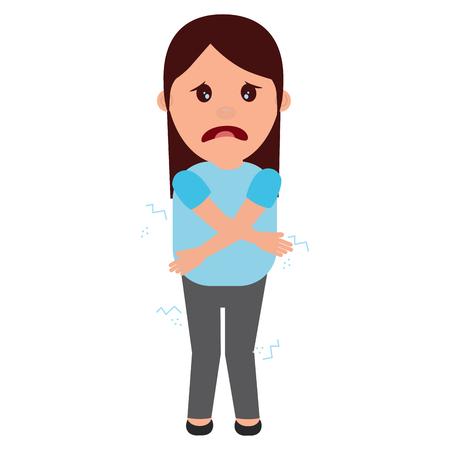 Mujer sensación de tristeza para una ilustración vectorial broma Foto de archivo - 97002568