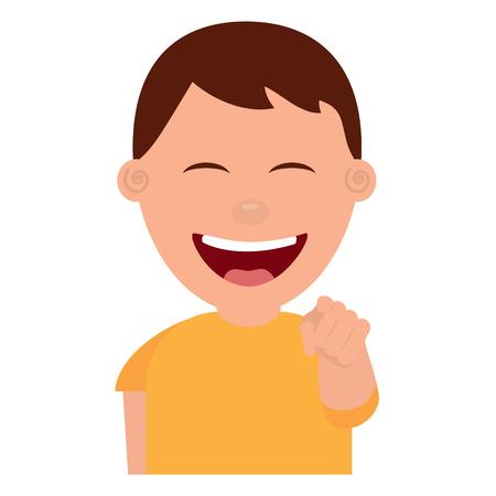 Portrait de sourire jeune adolescent garçon pointant avec le doigt vecteur illustration Banque d'images - 97002573