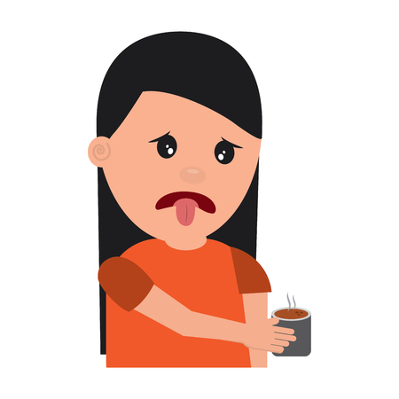 portrait young woman holding in hand beverage unpleasant vector illustration