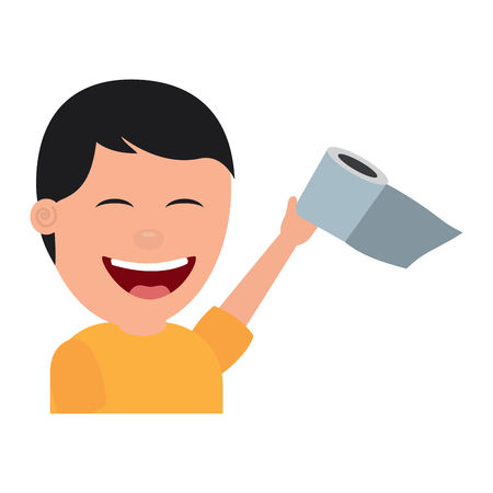 portrait young man smiling toilet paper raised hand vector illustration
