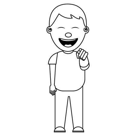 Ragazzo sorridente bullismo mantenere e indicando dito illustrazione vettoriale linea sottile Archivio Fotografico - 97003532