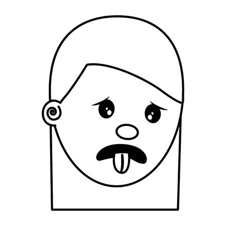woman with nasty tongue gesture outside vector illustration thin line image  イラスト・ベクター素材