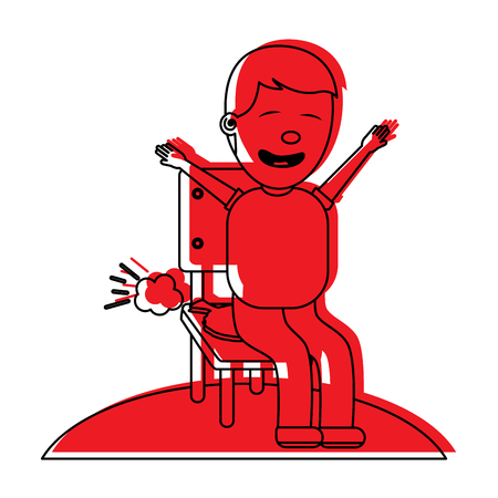 sad man sitting in chair with whoopee cushion fools day vector illustration red image
