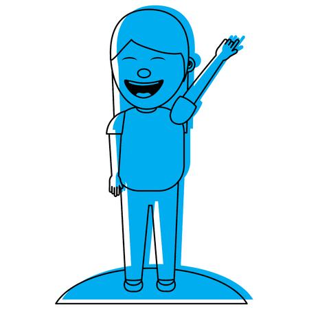 Felice ridere ragazza personaggio illustrazione vettoriale immagine blu Archivio Fotografico - 97003603