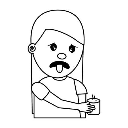 ritratto di giovane donna che tiene in mano bevanda illustrazione vettoriale sgradevole immagine sottile linea Vettoriali