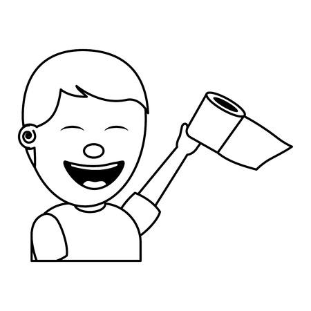 portrait young man smiling toilet paper raised hand vector illustration thin line image Illustration