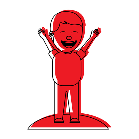 man smiling with raised arms celebration happy vector illustration red image Illustration