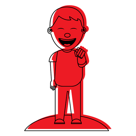 smiling boy bullying someone and pointing finger vector illustration red image