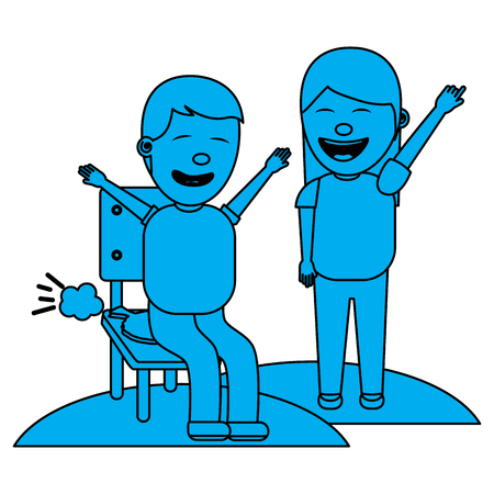 woman make joke a friend with cushion fools day vector illustration blue image blue image