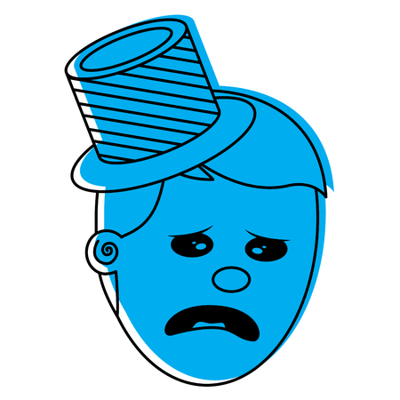 A depressed and sad young face man vector illustration Illustration